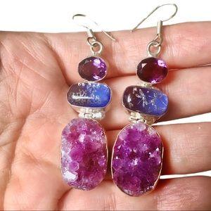 New Amethyst, Murano glass and Raw Ameth. earrings
